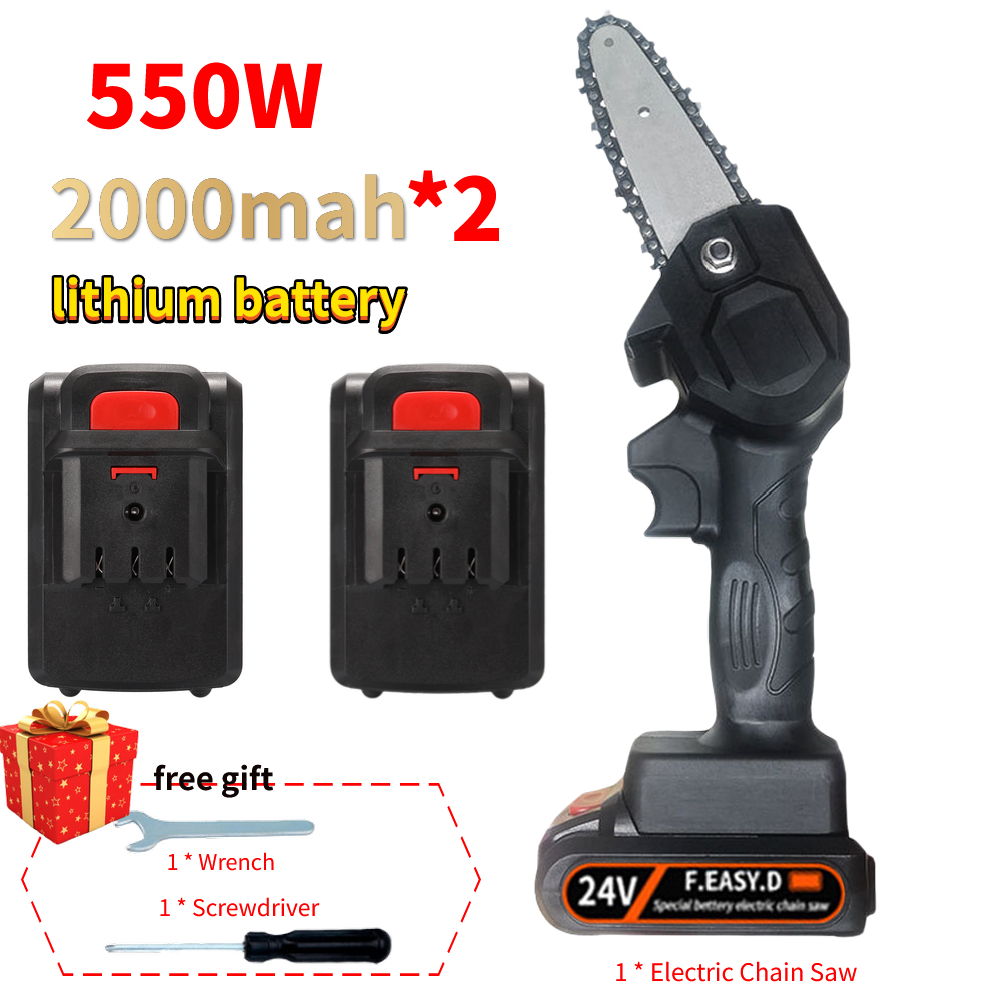 24V Chain Saw electric pruning saw rechargeable small electric saw household one-handed garden logging mini electric chain saw