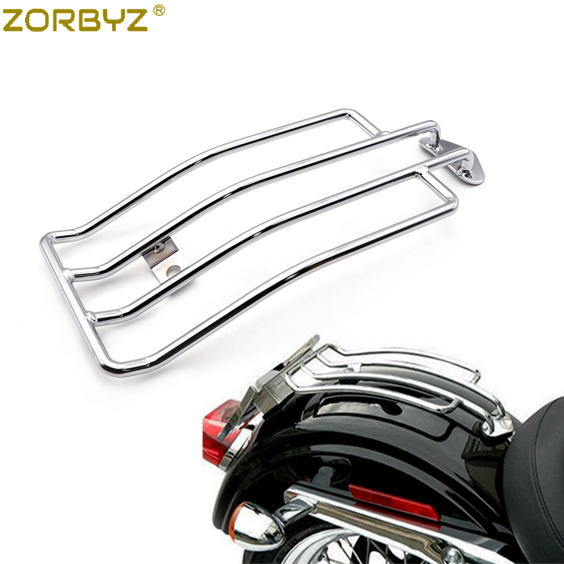 Chrome Solo Seat Luggage Rack 4 Harley Davidson Sportster XL883 XL1200 1985-2003