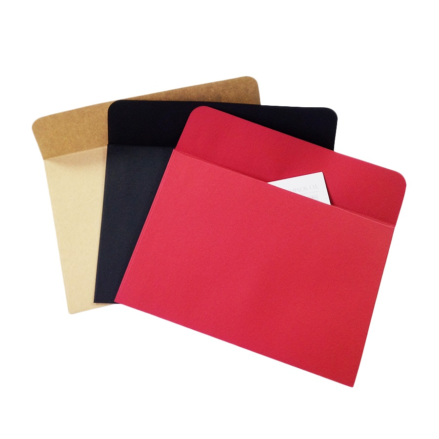 10pcs/Lot Red Black Kraft Paper Envelope Stationery Postcard Colorful Kraft
