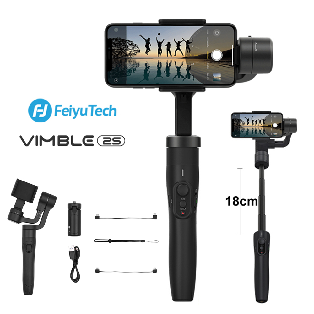 FeiyuTech Vimble 2S 3-AxisExtensible Handheld Gimbal Stabilizer With Extension Pole One KeyOrientationforiPhone 11 XXs 8,Samsung