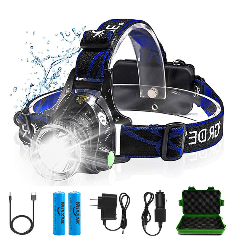 Zk20 6000LM Led Headlamps Head Lights Waterproof Head Flashlight Forehead Head Headlights Torch Hunting Mining Fishing Light