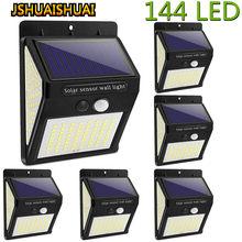 Nova atualização 144/100 led solar luz de parede ao ar livre lâmpada solar pir sensor de movimento movido a energia solar luz de rua com 3 modos