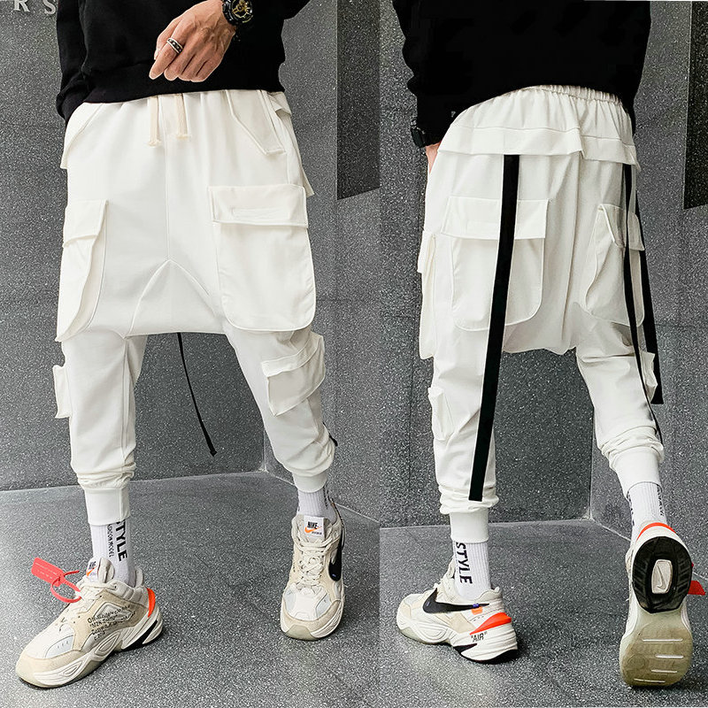 New Big Pockets Cargo Pants Men 2019 Streetwear Hip Hop Ribbons Joggers Pants Men Japanese Style Casual Track Pants Fashions