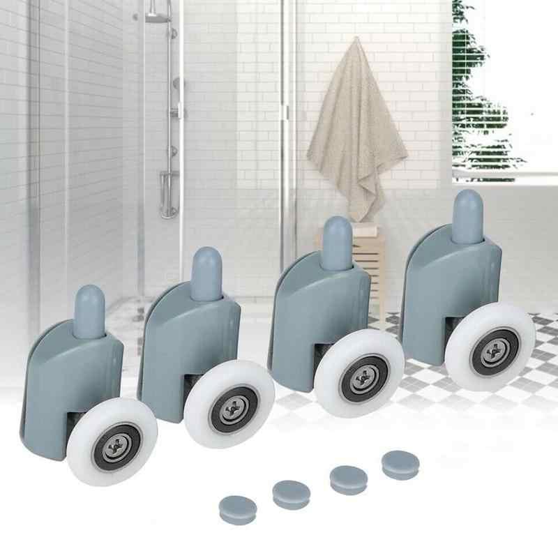 4 sztuk/zestaw koła pasowe mosiężne drzwi przesuwne łożysko toczne rolka do drzwi łożysko ze stopu cynku sprzęt prysznic akcesoria kabiny
