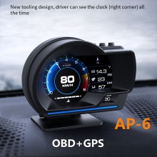 AP-6 Car HUD OBD + GPS Head Up Display Speedometer Alarm Ambient Light Professional Auto