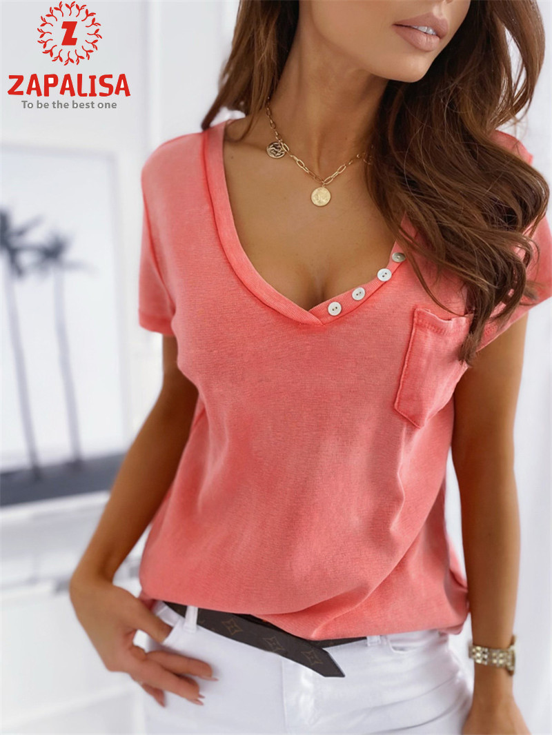Fashion Women Summer Solid Color Casual T-Shirts Patchwork Design Pockets Button Decor Short Sleeve V-Neck Slim Pullovers Top