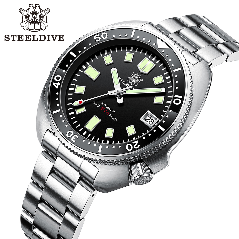 Steeldive SD1970 White Date Background 200M Wateproof NH35 6105 Turtle Automatic Dive Diver Watch 5
