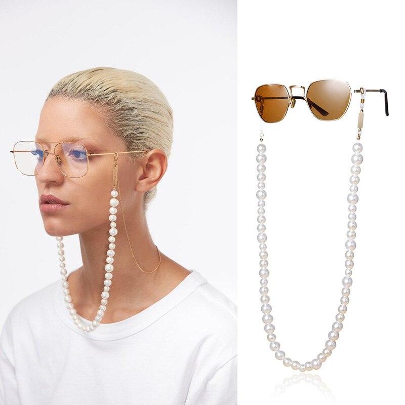 Fashion White Imitation Pearl Handmade  Glasses Chains Geometric Tassel U-shaped Glasses Chain Women Glasses Chain Accessoies