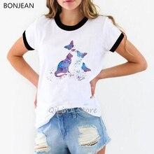Acuarela gato y mariposas impreso camiseta mujer vintage camiseta mujer ropa estética tumblr personalizada camiseta Linda parte superior