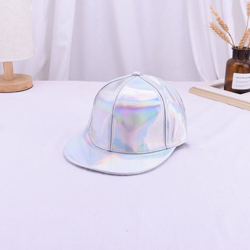 Fashion Unisex Silver Laser Baseball Cap Women Men Hip Hop Holographic Casquette Rainbow Basketball Hat H35 in Men 39 s Baseball Caps from Apparel Accessories