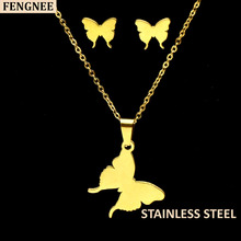 fengnee Gold Color Stainless Steel Sets For Women butterfly Necklace Earrings Jewelry Set Wedding Jewelry gold color stainless steel jewelry sets romantic wedding earrings necklaces for women crystal and opal jewelry