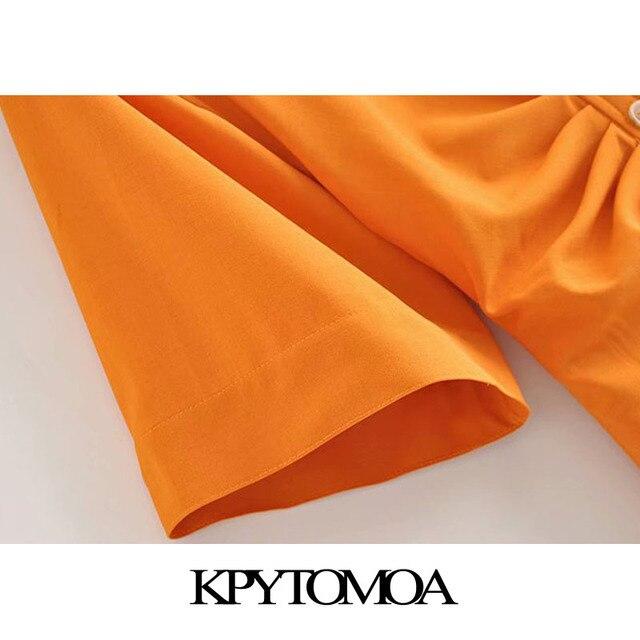 KPYTOMOA Women 2020 Chic Fashion Button-up Draped Midi Shirt Dress Vintage Short Sleeve Side Zipper Female Dresses Vestidos 4