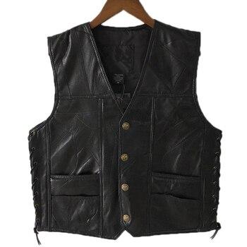 Mens Side Laces Adjustable Black Leather Motorcycle Vest  Biker Vests Soft Sheepskin 1