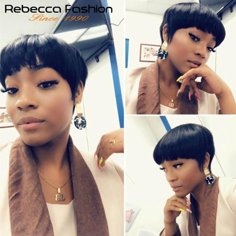 Rebecca Straight Hair Short Wig Brazilian Human Hair Wigs For Black Women Wholesale Cheap Machine Made Blonde Color 613#