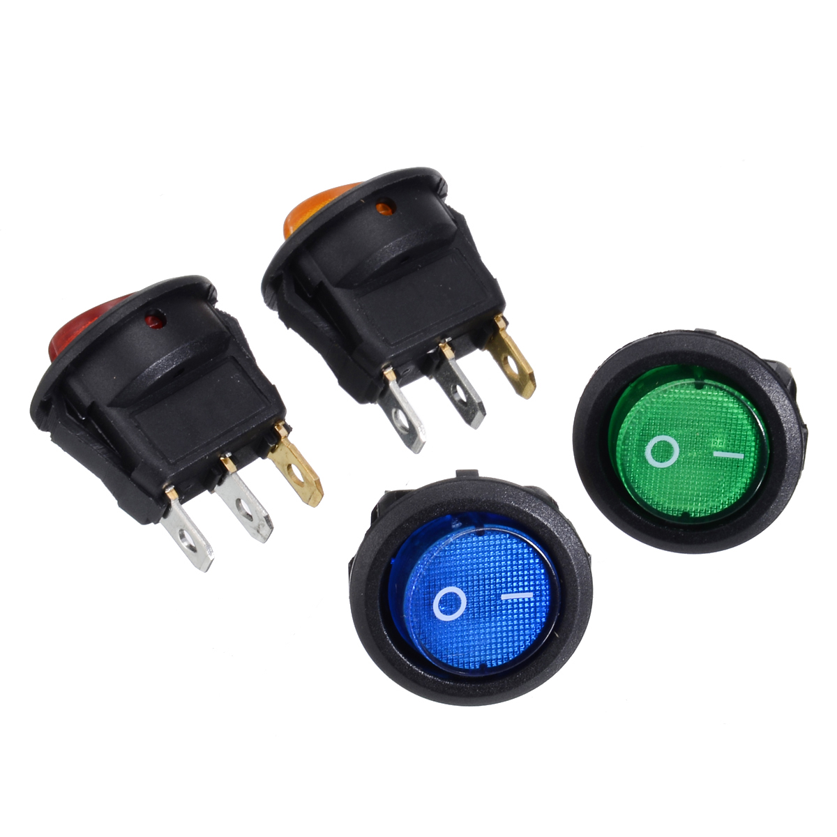 4X Round Car On Off LED Rocker Switch 12V 16A Auto Boat Toggle Switches SPST Red/Blue/Green/Yellow Dot Rocker Switch
