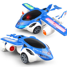 Electric universal automatic deformation vehicle combat aircraft model light music childrens toys gifts