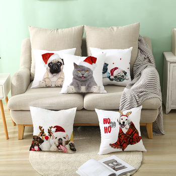 Merry Christmas Decorations for Home Cartoon Pets Santa Claus Tree Cushion Cover Christmas Ornament 2020 Xmas Gift New Year 2021 image