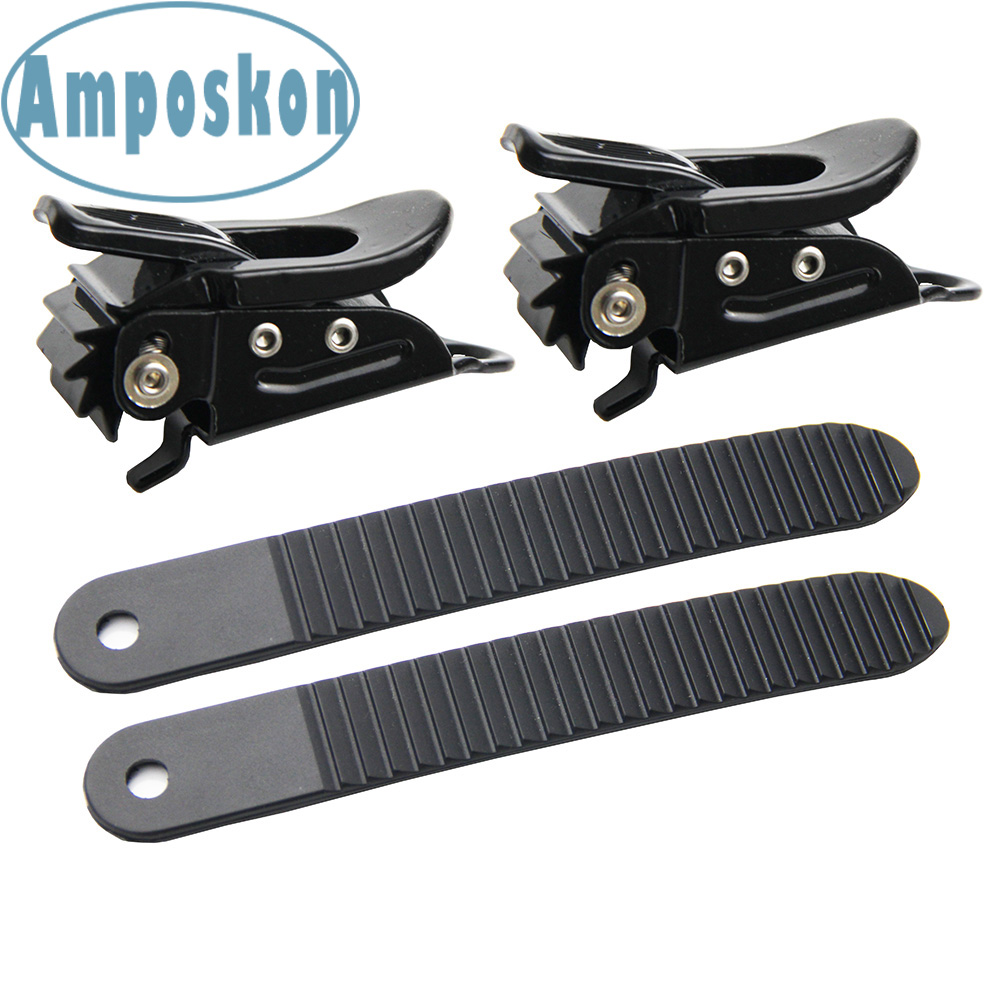 1 Set New Hot Black Snowboard 2 Buckles With 2 Straps For Snowboard Strap-In Toe Tongue Binding System Outdoor Accessories Ski