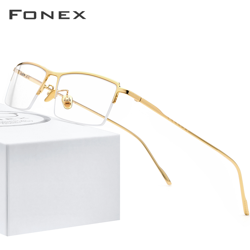 FONEX Pure Titanium Eye Glasses Frames For Men 2020 New Prescription Half Square Eyeglasses Frame Myopia Optical Eyewear 8514