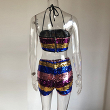 Sequins Stripes Two 2 Piece Set Women Halter Zipper Back Crop Top Bodycon  Shorts Sexy Lady Outfits