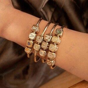 Image 4 - DIY bransoletka modna unikatowa żółta złota cyrkonia pierwsza litera cyfra Symbol kostka otwarta bransoletka mankietowa dla kobiet