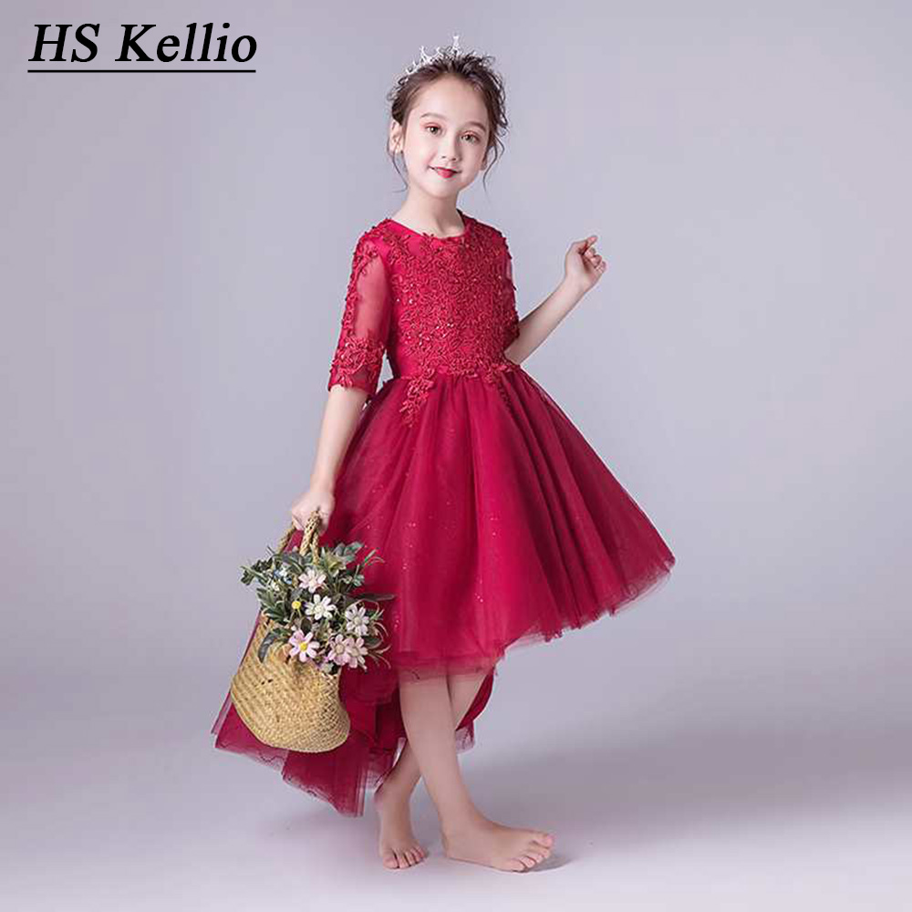 Flower     Girl     Dresses   Burgundy Ball Gown Pageant Banquet   Dress   High Low For Baby   Girls