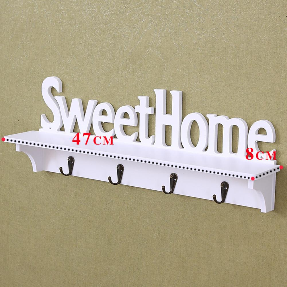 Sweet Home Wall Hooks Key Holder Storage Rack Shelf Kitchen Bathroom Organizer