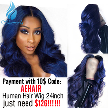 SHD Dark Blue Lace Front Wigs with Pre Plucked Hairline Brazilian Remy Hair Body