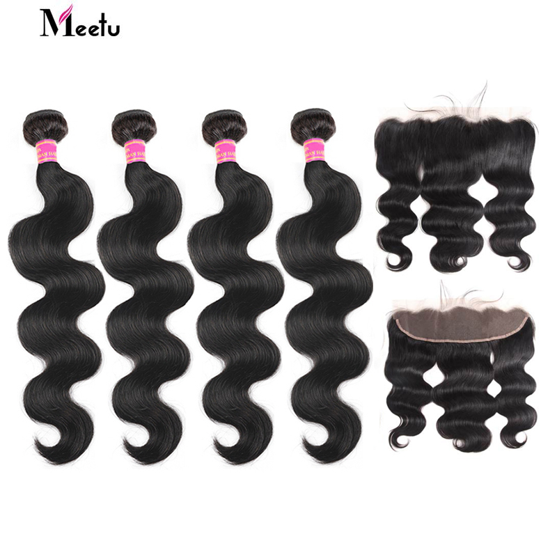Meetu Malaysian Body Wave Bundles With Frontal Non Remy 100% Human Hair Bundles With Frontal 4 Bundles With 13x4 Lace Frontal