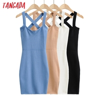 Tangada 2021 fashion women solid elegant summer knit dress strethy strap sleeveless ladies short dress 4P46 1