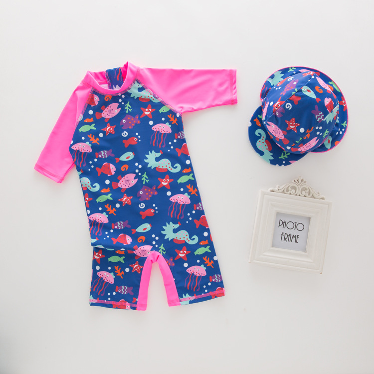 KID'S Swimwear Summer GIRL'S One-piece Swimming Suit Rose Red School Of Fish Swimwear Hot Springs Tour Bathing Suit Beachwear