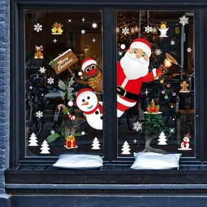Image 2 - Cartoon Christmas Stickers for Window Showcase Removable Santa Clause Snowman Home Decor Decal Adhesive PVC New Year Glass Mural