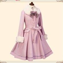 Новинка; Повседневное платье принцессы в стиле Лолиты; сезон осень-зима; однобортное шерстяное пальто с меховым воротником; модное милое Женское пальто;