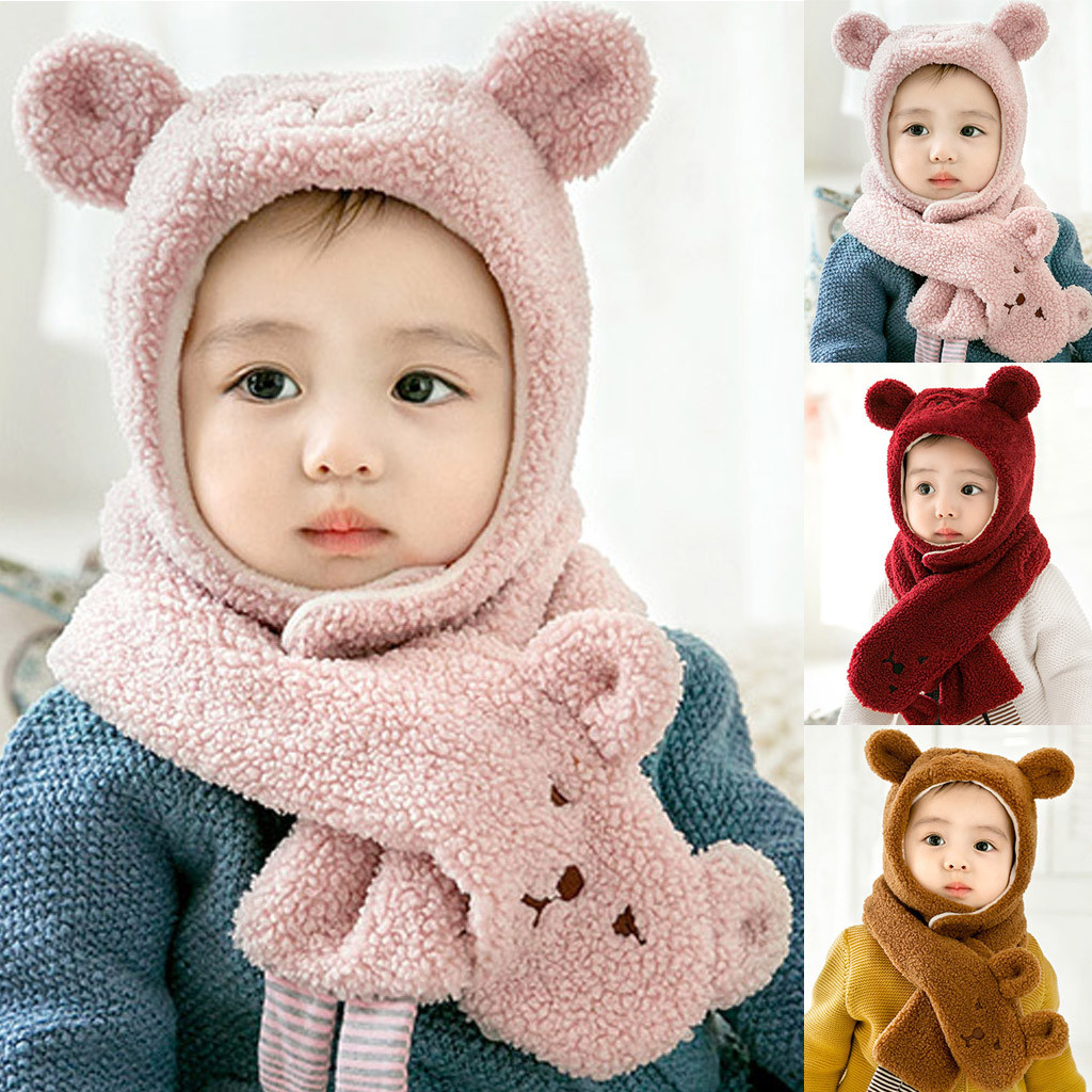 Winter Baby Cartoon Bear Boy Girl Knitted Children Lovely Soft Hat+Scarf Two Piece Set Scarf, Hat & Glove Sets  Accessories