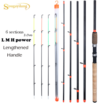 Sougayilang New Feeder Fishing Rod Lengthened Handle 6 Sections Fishing Rod L M H Power Carbon Fiber Travel Rod Fishing Tackle