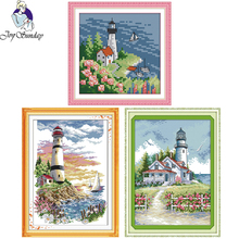 Joy Sunday,Lighthouse,cross stitch embroidery kit,Scenery pattern cross stitch kit,Needlework counted cross-stitch patterns joy sunday wine cross stitch embroidery set cross stitch pattern needlework counted cross stitch patterns chinese cross stitch