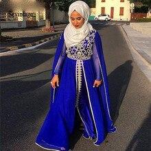 Sevintage Royal Blue Muslim Evening Dresses Long Sleeves Moroccan Kaftan Lace Appliques Saudi Arabic Prom Gowns Vestidos De Gala