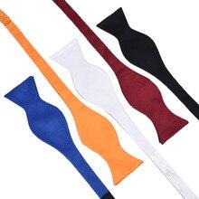 Mens Silk Satin Plain Solid Black Bow Tie Formal Wedding Bow
