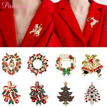 PATIMATE Christmas Brooch For Women Santa Tree Merry Christmas Decoration For Home 2019 Natal Navidad Gift Happy New Year 2020 patimate christmas angel doll christmas tree decoration christmas decorations for home merry 2019 christmas gift new year 2020