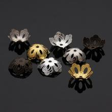 100pcs/lot 13.5x5.5mm hole 1.6mm Hollow Flower Spacer Beads End Caps Loose Beads Pendant DIY Charms For Jewelry Making Findings