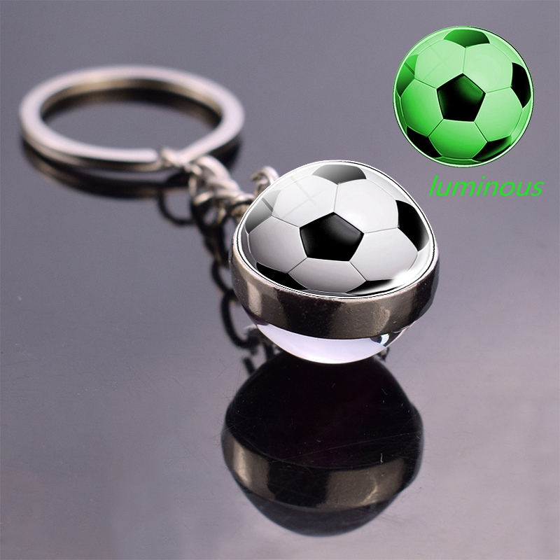 Glow In The Dark Soccer Keychain Double Side Luminous Photo Glass Ball Keychain Football Basketball Snooker Key Chain Rings