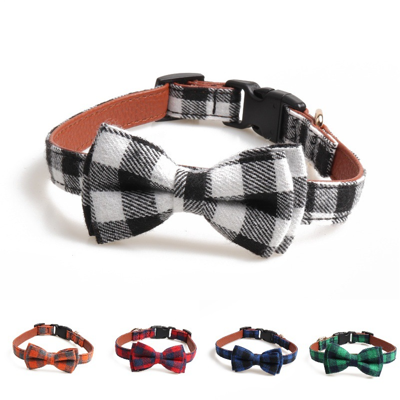 Amin Lattice 2019 New Style England Plaid Pet Collar Bow Neck Ring Release Buckle Dog Neck Ring Manufacturers Direct Selling