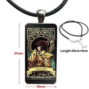 Image 3 - Cartoon Saint Seiya Gold Saints Card For ValentineS Day Gift Glass Cabochon Pendant Necklace Rectangle Fashion Necklace