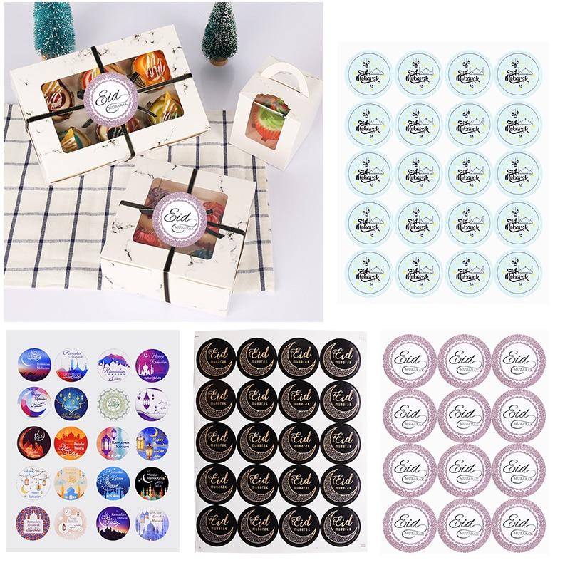 120pcs 4cm Eid Mubarak Labels Gift Box Seal Stickers Ramadan Mubarak Decoration Islamic Festival Gifts Label Eid Party Supplies