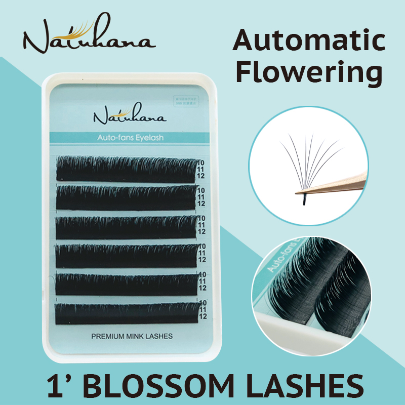 NATUHANA Easy Fan Eyelash Extensions Automatic Flowering Lashes 1'S Blossom Eye Lashes Russian Volume Fans Magnetic Lashes
