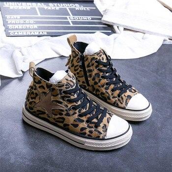 kids shoes 2019 autumn leopard tenis infantil little girl's leather sport shoes star infantil boys high-top casual sneakers