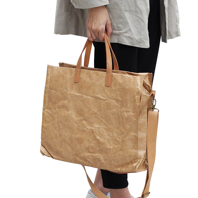 Women Latest Fashion Handbags Lady Shoulder Bag Kraft Paper Totes Messenger Bag Washable Tear-resistant Environmentally Friendly