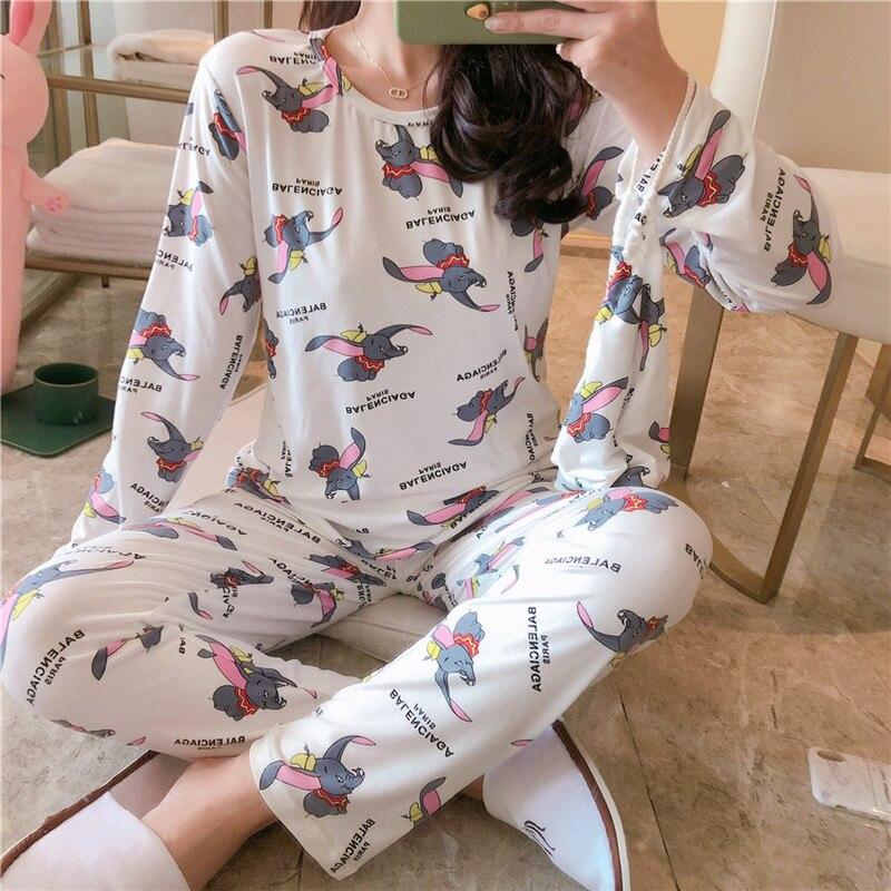 Spring And Autumn Women Dumbo Cartoon Pajamas Set Cotton Blend Pajamas Pajamas Long Sleeve 2 Piece Pajamas Set Women Pajamas