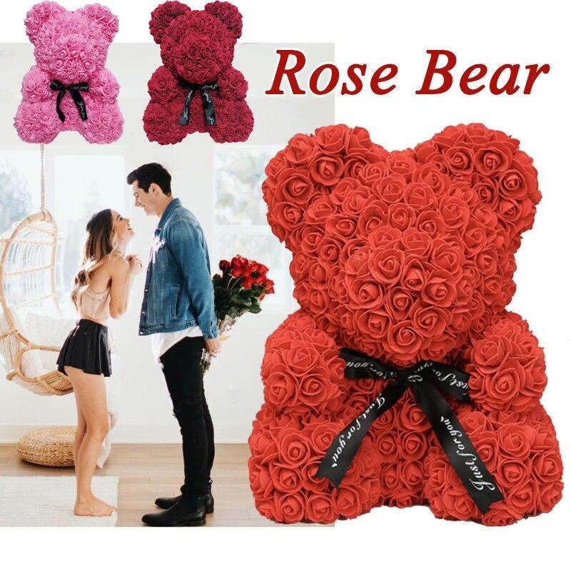 40 см/25 см розовая роза Мишка Тедди Сердце цветок подарок на день матери день рождения свадьбу Рождество