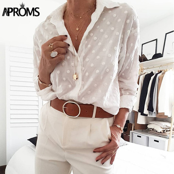 Aproms Vintage Polka Dot Tassel White Blouses Shirts Women 2020 Long Sleeve Beach Tunic Elegant Chiffon Shirt Casual Female Tops 1